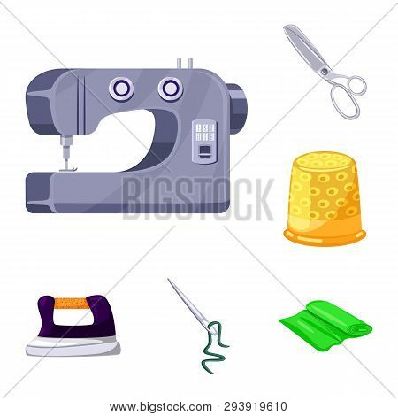 Isolated object of atelier and sewing symbol. Collection of atelier and tailoring stock symbol for web. poster