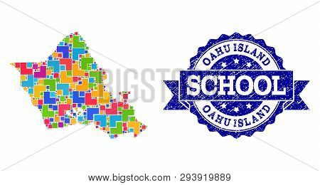 Mosaic Puzzle Map Of Oahu Island And Scratched School Seal With Ribbon. Vector Map Of Oahu Island Co