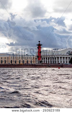 Saint Petersburg, Russia - September 11, 2018: View From The Boat, From The Water Of Neva River To T