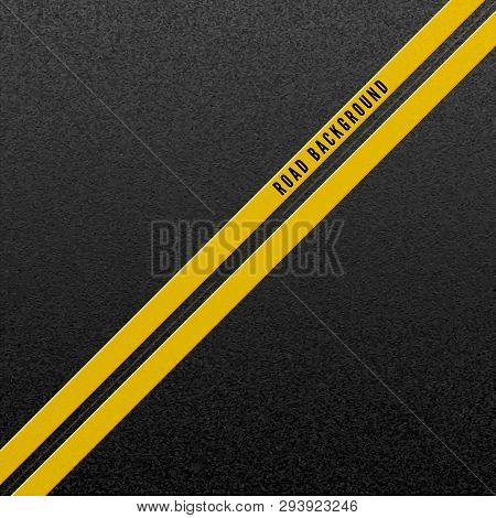 Abstract Road Background. Structure Of Granular Asphalt. Asphalt Texture With Two Yellow Line Road M