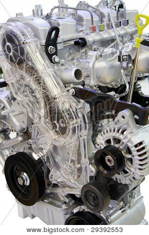 A shot of car engine of modern car with lots of details.