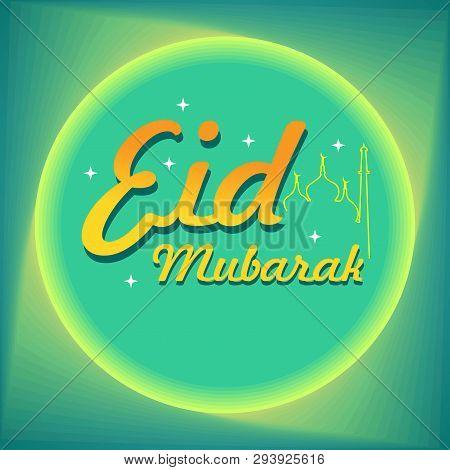 Eid Mubarak Calligraphy With Moonlight And Mosque Line Art
