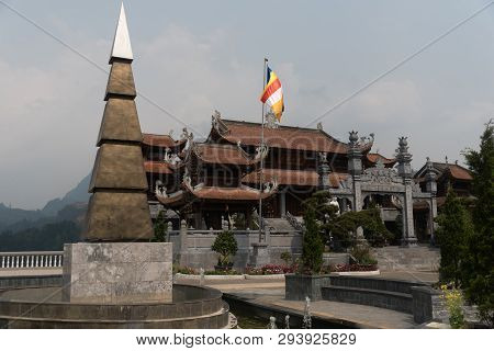 Sapa Vietnam Pagoda At Fansipan In Morning.fansipan Is The Highest Mountain In The Indochinese Penin