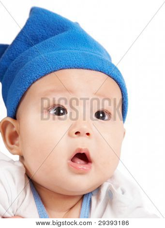 cute baby wearing a blue hat.