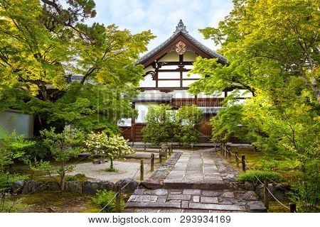 Exterior of the Arashiyama temple in Kyoto, Japan. Image taken from a public position.