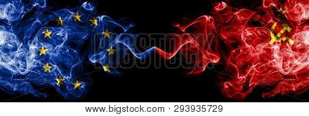 European Union Vs Ussr, Communist Smoke Flags Placed Side By Side. Thick Colored Silky Smoke Flags O