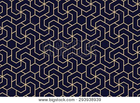Abstract Geometric Pattern. A Seamless Vector Background. Dark Blue And Gold Ornament. Graphic Moder