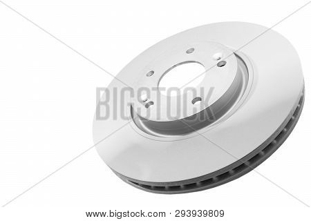 Car Brake Disc Isolated On White Background. Auto Parts. Brake Disc Rotor Isolated On White. Braking