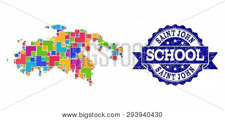 Mosaic Puzzle Map Of Saint John Island And Rubber School Seal Stamp With Ribbon. Vector Map Of Saint