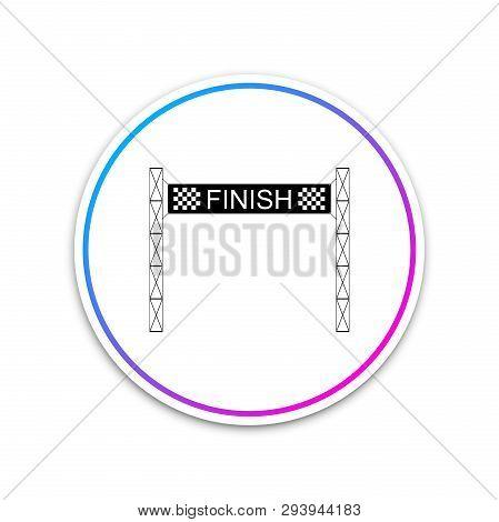 new style 3c9e5 5fbdf Ribbon In Finishing Line Icon Isolated On White Background. Symbol Of Finish  Line. Sport