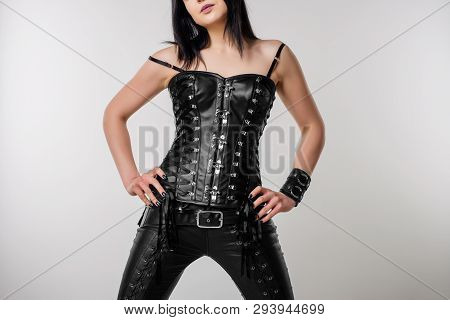 Sensual Woman In Black Leather Corset And Pants - Image