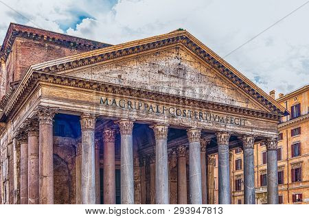 Facade Of The Pantheon, Iconic Landmark Which Was Formerly A Roman Temple, Now A Church And One Of T