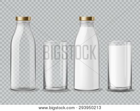 Milk Bottle And Glass. Empty And Full Milk Realistic Bottles And Shiny Glasses Container Dairy Bever
