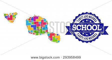 Mosaic Puzzle Map Of Tahiti And Moorea Islands And Rubber School Seal Stamp With Ribbon. Vector Map