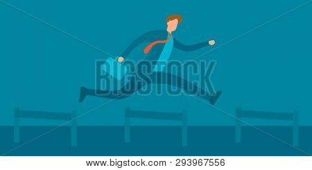 Businessman Jumping Over Hurdles Vector Illustation. Business Challenge, Successful Overcoming Conce