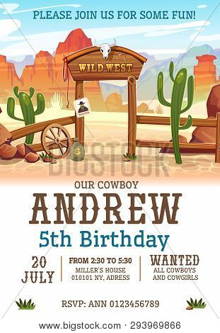 Wild West Birthday Party Invitation Design Template. Western Poster Concept For Invitations, Greetin