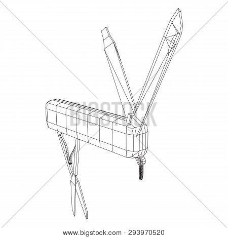 Multi-tool folding pocket knife, multipurpose penknife. Multifunctional tool model wireframe low poly mesh vector illustration poster
