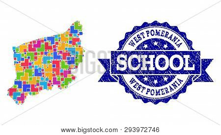 Mosaic Puzzle Map Of West Pomerania Province And Unclean School Seal Stamp With Ribbon. Vector Map O