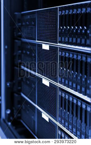 Close Up View Of Modern Computer Server In Dark Tinting Design. Networking, Big Data Centre And High