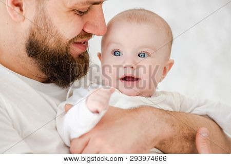 Smiling Father And Baby Girl, White Background