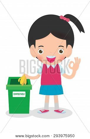 Children Rubbish For Recycling, Illustration Of Kids Segregating Trash, Recycling Trash, Save The Wo