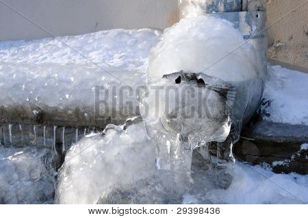 Frozen Water In The Downspout