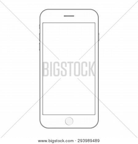 White Smartphone With White Empty Screen  And Buttons Vector. Mobile Phone Vector Eps10. Smartphone