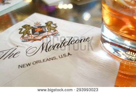New Orleans,la/usa -03-17-2019: A Sazerac Cocktail On A Napkin At Of The Bar Of The Monteleone Hotel