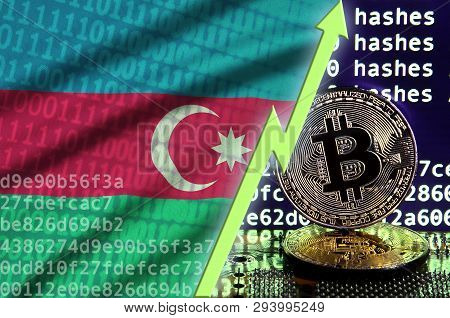 Azerbaijan Flag And Rising Green Arrow On Bitcoin Mining Screen And Two Physical Golden Bitcoins