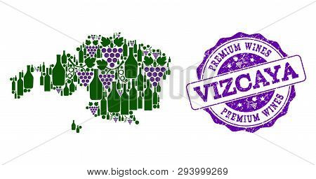 Vector collage of grape wine map of Vizcaya Province and purple grunge seal for premium wines awards. Map of Vizcaya Province collage created with bottles and grape berries. poster