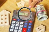 Inscription Tax on the calculator. The concept of paying taxes for the property. Liabilities or repayment of tax debt. Calculated individual income tax for pay taxes annual. Home. Housing. Apartment poster
