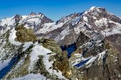 Swiss Alps: mountain of Taschhorn at height of 4491 meters, fantastic vistas of the Mischabel chains four-thousand metre peaks is the uncrowned queen of the Mischabel group. Switzerland. poster