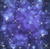 Blue background with stars and hearts and bokeh effect poster