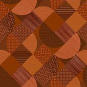 Modern geometric patchwork seamless pattern in terra cotta colors. Elegant flat geometry repeatable motif with dots, stripes, shapes. Rapport for fabric, wrapping paper, surface design, background. poster