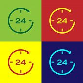 Color Clock 24 hours icon isolated on color backgrounds. All day cyclic icon. 24 hours service symbol. Flat design. Vector Illustration poster