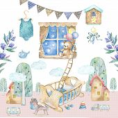 Baby room interior. Watercolor set illustration Baby room with a window, shelf, toys, cot, bedside cradle, flowers. Invite card. Childrens room. poster