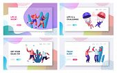 Retired People Sport Activity Set. Extreme Skydiving Characters, Joggers, Friends Playing Badminton, Training with Dumbbells. Website Landing Page, Web Page. Cartoon Flat Vector Illustration, Banner poster