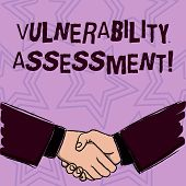 Word writing text Vulnerability Assessment. Business concept for defining identifying prioritizing vulnerabilities Businessmen Shaking Hands Firmly as Gesture Form of Greeting and Agreement. poster