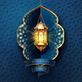 Ramadan kareem or eid mubarak, al-fitr greeting card background. Lamp or lantern, fanous or fanoos for muslim or arabic religious holiday poster. Islamic quran festive or ramazan celebration. Religion poster