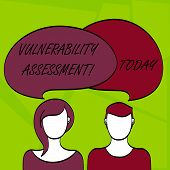 Writing note showing Vulnerability Assessment. Business photo showcasing defining identifying prioritizing vulnerabilities Faces of Male and Female Colorful Speech Bubble Overlaying. poster