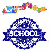 Mosaic puzzle map of the Gambia and unclean school seal with ribbon. Vector map of the Gambia constructed with bright colored square and corner blocks. Vector seal with unclean rubber texture, poster