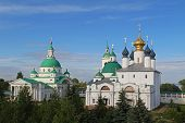 Architectural ensemble of Spaso-Yakovlevsky (St. Jacob Savior) monastery in a summer day. Rostov Velikiy, Russia. poster