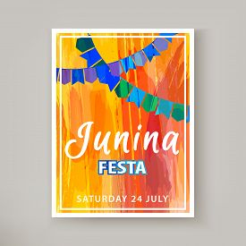 Festa Junina Holiday, Night Beach Party. Folklore Fest. Hipster Party. Artistic Creative Card. Hand