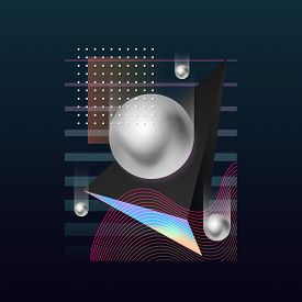 Abstract Geometric Background. Modern Cover Design. 3d Gradient Shapes Composition. Colorful Gradien