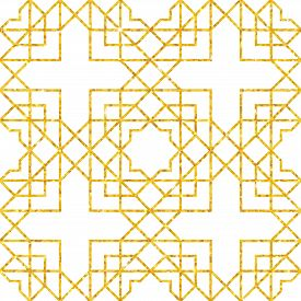 Abstract Seamless Geometric Pattern On Golden Glittering Texture. Arabic Ornament. Vintage Element F