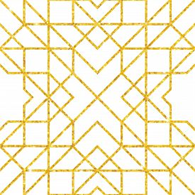 Abstract Seamless Geometric Pattern On Golden Glittering Texture. Mosaic Seamless Pattern. Arabic Or