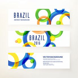 Set Of Modern Horizontal Vector Banners. Circular Ornament, Geometric Pattern In Brazil Color Concep