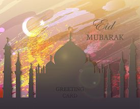 Eid Mubarak. Eid Al-fitr Muslim Traditional Holiday. Muslim Community Festival Celebration. Abstract