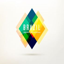 Abstract Modern Geometric Logo. Triangle Decor, Geometric Pattern In Brazil Color Concept. Design El