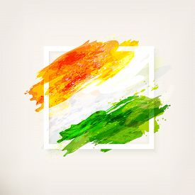 Happy Indian Independence Day Celebration - 15th August. Creative Watercolor Background In Frame. Ha